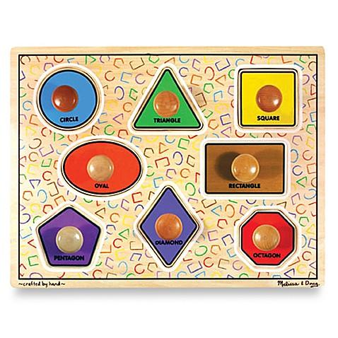 Melissa & Doug® Wooden Jumbo Shapes Knob Puzzle - buybuy BABY Wooden Toddler Puzzle