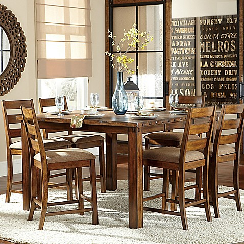 Verona Home Kirby Hills 7 Piece Counter Height Dining Set In Pine Bed Bath
