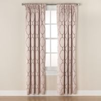 Linnea Embroidered 84-Inch Rod Pocket/Back Tab Room-Darkening Window Curtain Panel in Linen