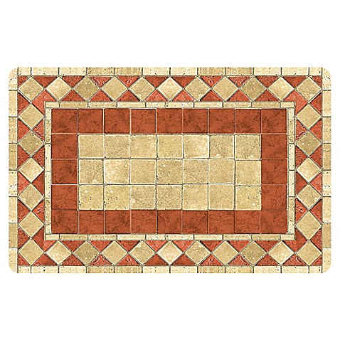 The Softer Side By Weather Guard Red Tile Mosaic Kitchen Mat Bed Bath Beyond