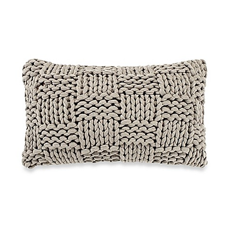 Grey Knit Throw Pillow : Kenneth Cole New York Dovetail Basket Knit Oblong Throw Pillow in Grey - Bed Bath & Beyond