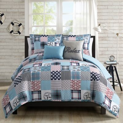 Coastal Patchwork 5 Piece Twin Comforter Set Nice Design