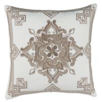 Floral Square Throw Pillow in Natural