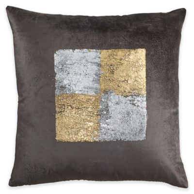Callisto Home Plush Velvet with Gold and Silver Foil Square Throw Pillow in Charcoal