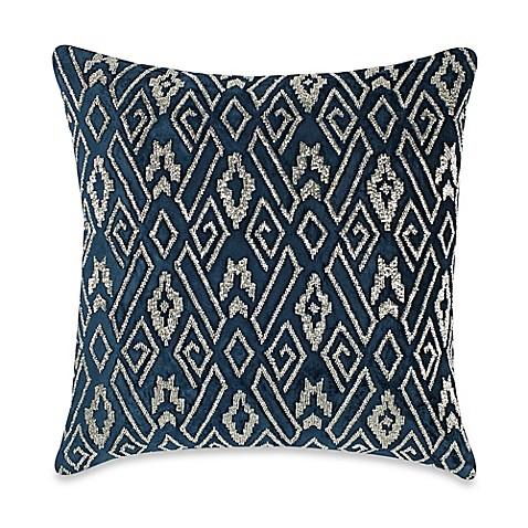 Callisto Home Velvet Plush Beaded Square Throw Pillow In