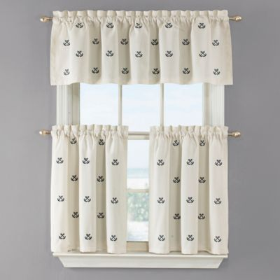 Crossed Anchor 36 Inch Kitchen Window Curtain Tier Pair In White