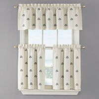 Crossed Anchor 36-Inch Kitchen Window Curtain Tier Pair in White
