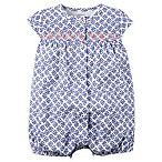 carter's® Newborn Cap Sleeve Snap-Up Print Romper in Blue/White