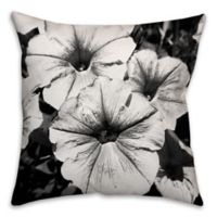 Black and White Flowers 18-Inch Square Throw Pillow
