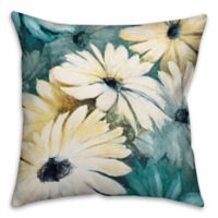Daisies 18-Inch Square Throw Pillow in Green/Yellow