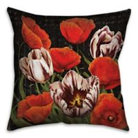 Flower Patch 18-Inch Square Throw Pillow in Red/Black