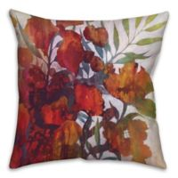 Drip Flowers 18-Square Throw Pillow in Red