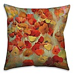Floral 16-Inch Square Throw Pillow in Red/Yellow