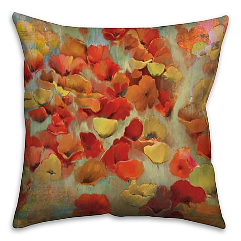 Yellow Decorative Pillows For Bed : Floral Square Throw Pillow in Red/Yellow - Bed Bath & Beyond