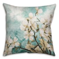 Pale Panel Flowers 16-Inch Square Throw Pillow