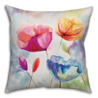Watercolor Poppies 16-Inch Square Throw Pillow