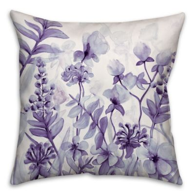 flower dream 16inch square throw pillow in purple