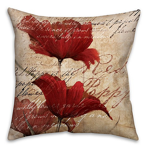 Soothing Poppies Square Throw Pillow In Red Beige Bed
