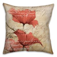 Soothing Poppies 18-Inch Square Throw Pillow in Red/Beige