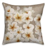 Cherry Florals 18-Inch Square Throw Pillow in Taupe/White