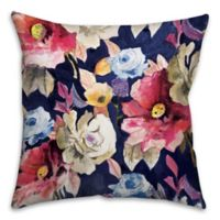Water Gauche Flowers 16-Inch Square Throw Pillow