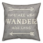 Wander Arrows 18-Inch Square Throw Pillow in Grey/White