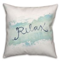 """""""Relax"""" Watercolor 18-Inch Square Throw Pillow in Blue/White"""