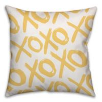 Distressed XOXO 18-Inch Square Throw Pillow in Yellow