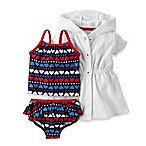 carter's® size 3M 2-Piece Hearts Tankini with Cover Up in White