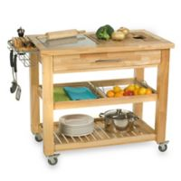 "Chris & Chris Pro Chef 40"" Kitchen Rolling Work Station in Natural"