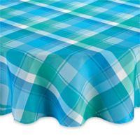 Phoenix Plaid 70-Inch Round Umbrella Tablecloth in Blue