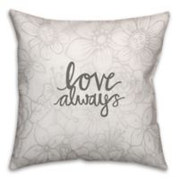 18-Inch Love Always Floral Pattern Square Throw Pillow