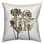 Love Nature 16-Inch Square Throw Pillow in Ivory/Black