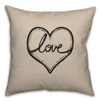 Tribal Love Square 16-Inch Throw Pillow in Beige/Black