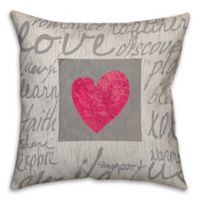 Love Words 16-Inch Square Throw Pillow in Grey