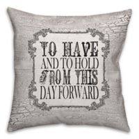"""""""To Have And To Hold... """" 18-Inch Square Throw Pillow in Black/White"""