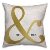 """Mr. & Mrs."" Ampersand 16-Inch Square Throw Pillow in Gold"