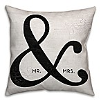 """Mr. & Mrs."" Ampersand 16-Inch Square Throw Pillow in Black"