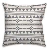 Aztec 16-Inch Square Throw Pillow in Grey/White
