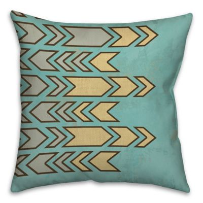 geometric contrast 16 inch square throw pillow in blueyellow - Turquoise Decorative Pillows