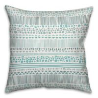 Tribal 16-Inch Square Throw Pillow in Turquoise