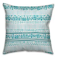 Tribal 18-Inch Square Throw Pillow in Cyan