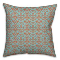 Tribal Ikat 16-Inch Square Throw Pillow in Blue/Orange