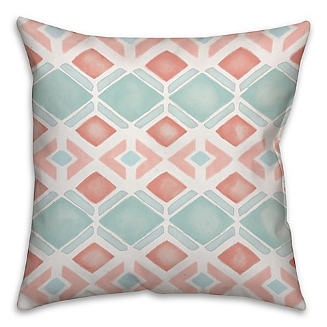 Geometric Watercolors Square Throw Pillow in Pink/Blue - Bed Bath & Beyond