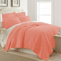 Ocean View Twin Quilt in Coral