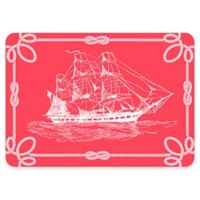 The Softer Side by Weather Guard™ 18-Inch x 27-Inch Nautical Ship Kitchen Mat in Coral/White