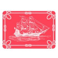 The Softer Side by Weather Guard™ 23-Inch x 36-Inch Nautical Ship Kitchen Mat in Coral/White