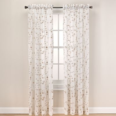 Caspia 63 Inch Rod Pocket Sheer Window Curtain Panel In Gold