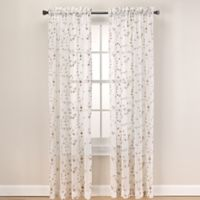 Caspia 108-Inch Rod Pocket Sheer Window Curtain Panel in Gold