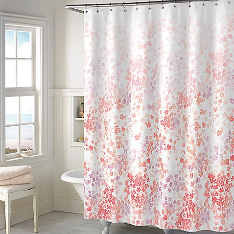 Buy Kimberly Floral Shower Curtain In Coral From Bed Bath